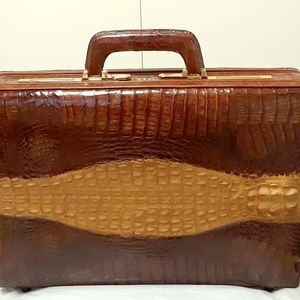 Other - Antique elegant real Crocodile leather briefcase